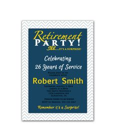 Retirement party invitation wording in hindi invites pinterest surprise retirement party invitation chevron navy blue and gold masculine invitation trendy printable invite 5x7 digital stopboris Images
