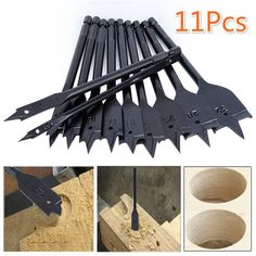 Hakkin Machine Flat Wood Drill BitsSpade Paddle Flat Wood Boring Titanium Coated Paddle Flat Woodworking Tools KitStandard Spade Bit Set in Pouch -- See this fantastic item. (This is an affiliate link ). Woodworking Tool Set, Woodworking Tools For Beginners, Router Woodworking, Wood Working For Beginners, Electrical Hand Tools, Wood Drill Bits, Rust Prevention, Engineering Tools, Drilling Tools