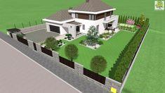 nowoczesne ogrodzenie - wizualizacja 3D Home Decor Kitchen, Golf Courses, House Design, How To Plan, Mansions, Landscape, House Styles, Gardening, Garden