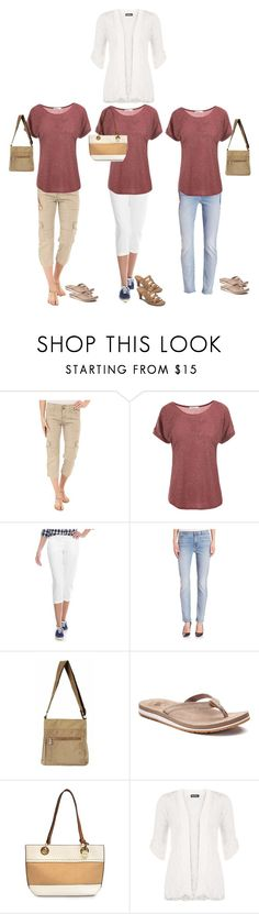 """""""Sightseeing Raspberry tee"""" by donovan-heather ❤ liked on Polyvore featuring Sanctuary, Crown & Ivy, Jen7, New Balance, Nicole Miller and WearAll"""