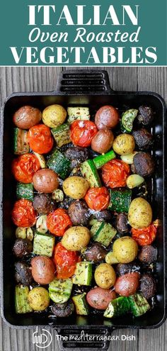 Italian Oven Roasted Vegetables These oven roasted veggies are the best! Delicious, roasted to tender perfection, and bold with Italian flavors from fresh garlic, oregano, thyme and extra virgin olive oil! Vegetable Side Dishes, Vegetable Recipes, Vegetarian Recipes, Cooking Recipes, Healthy Recipes, Vegetarian Protein, Mediterranean Diet Recipes, Mediterranean Dishes, Roasted Veggies In Oven