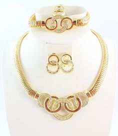 18k Gold Plated Chunky Fashion Jewelry ,African Costume Jewelry Set Necklace Fashion For Women