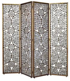 Oly Serena capiz shell screen with gold detailing; 88W by 1D x 88H fully spanned