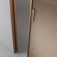 Porta Vela Rimadesio da www.spaziomateriae.com Napoli Rimadesio Vela door structure in brushed copper and rete bronzo glass