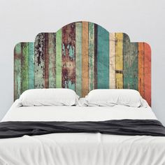 Different colors. This stained wood adhesive headboard wall decal is designed to dramatically change the look and feel of your bedroom without the permanency of paint or the bulk of traditional frames. Simply peel and Headboard Decal, Queen Headboard, Panel Headboard, Diy Pallet Headboard, Bohemian Headboard, Shiplap Headboard, Reclaimed Wood Headboard, Pallet Furniture, Painted Furniture