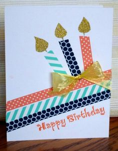 CAS Birthday by – Cards and Paper Crafts at Splitcoaststampers CAS Birthday card … washi tape diagonal lines wirh three candles created with the same tapes … touches of gold with glitterpaper flamees and plastic faffia bow … one layer … Handmade Birthday Cards, Happy Birthday Cards, Birthday Diy, Birthday Card Making, Easy Diy Birthday Cards, Birthday Cake, Friend Birthday Card, Birthday Cards For Kids, Birthday Parties