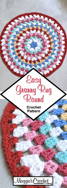 Crochet Pattern Easy Granny Rug Round Learn the rudiments of how to needlecraft (generic term), at t Granny Square Häkelanleitung, Granny Square Crochet Pattern, Crochet Round, Granny Squares, Cotton Crochet Patterns, Crochet Designs, Crochet Stitches, Hairpin Lace Crochet, Crochet Patterns For Beginners