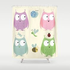 Owl Friends - Pink Shower Curtain - SOOOO CUTE! See all products with this design in our shops www.cafepress.com/drapestudio adn www.zazzle.com/drapestudio adn www.society6.com/drapestudio and www.etsy.com/shop/drapestudio AND for Fabric by the Yard www.spoonflower.com/profiles/drapestudio OR visit our main site www.drapestudio.com