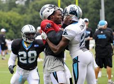 Carolina Panthers' Cam Newton (1) and Josh Norman (24) scuffle at the teams NFL football training camp at Wofford College in Spartanburg, S.C. (2826×2073)