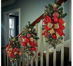 """Christmas Indoor Decoration Pre Lit Led lights 26"""" Stairway Swag Red Gold decor #Vonmart911"""