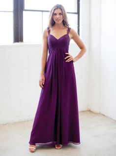 2015 A-line Purple Chiffon Floor Length Bridesmaid Dress colour kenneth winston 5174