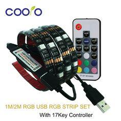 USB Светодиодные ленты 5050 RGB ТВ Задний план Освещение комплект cuttable с 17Key RF контроллер 1 м/2 м комплект Водонепроницаемый или не водонепроницаемый купить на AliExpress