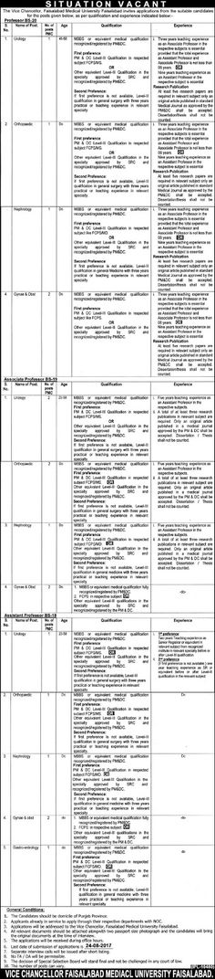 Jobs in Faisalabad Medical University Aug 2017 http://ift.tt/2uNEPof   Faisalabad Medical University   Last Date:  18 Aug   2017  Location:  Faisalabad  Posted   on:  11 Aug   2017  Category:  Government  Organization:  Medical   Department   Website/Email:  N/A  No.   of Vacancies  18  Education   required:  MBBS  How   to Apply:  Mentioned   in Newspaper ad  Vacant Positions:  Urology  Orthopaedic  Gynae & Obst  Gastro-entrology  Nephrology  Postal Address: (Vice Chancellor) Faisalabad…
