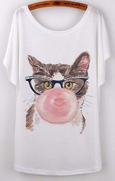 Bubble Gum Cat T-Shirt - Two Stupid Cats  This Kitty just doesn't care and so should You with this Bubble Gum Cat T-shirt.    Material: Mixed Cotton  Pattern Type:Print Style:Casual Fabric Type:Broadcloth Collar:O-Neck Sleeve Length:Short *1 cm = 0.39 inch