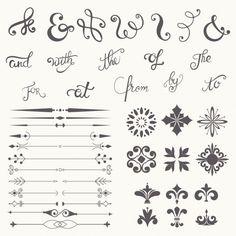 Colección del elemento del diseño de la caligrafía Vector Gratis