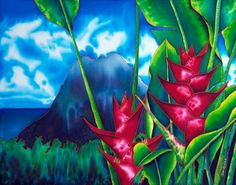 """TITLE: Gros Piton & Heliconia MEDIUM: Hand - Painted Silk  SIZE: 30"""" X 40"""""""