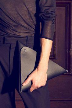 Black leather pyramid clutch