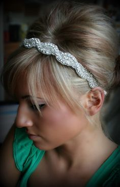 Rhinestone Headband AMARA wedding headband hair by BrassLotus, $34.95