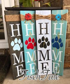 signs Paw Print Home Sign - Rustic Paw Sign - Paw Print sign - Home sign with Paw Print - Pet Decor - Paw Print wood sign - Dog Sign- Cat Sign Arte Pallet, Pallet Art, Wood Pallet Crafts, Diy Wooden Crafts, Painted Wood Crafts, Pallet Flag, Pallet Ideas, Wooden Diy, Decoration Entree