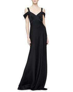 TC8Q3 Theia Cold-Shoulder Open-Back Gown