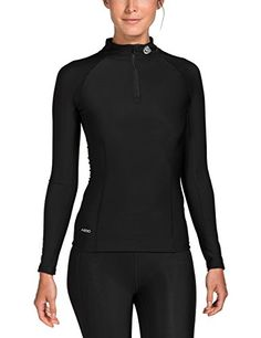 Skins A200 Womens Thermal Compression Long Sleeve Top with Zip Mock Neck Medium BlackBlack * Continue to the product at the image link.(This is an Amazon affiliate link and I receive a commission for the sales)