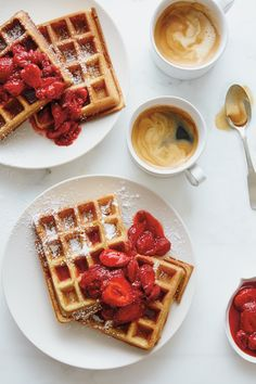 Try the Raised Waffles with Strawberry-Rhubarb Compote Recipe on williams-sonoma. Strawberry Rhubarb Compote, Strawberry Waffles, Compote Recipe, Waffle Recipes, Freezer Recipes, Freezer Cooking, Cooking Tips, Make Ahead Breakfast, Clean Breakfast