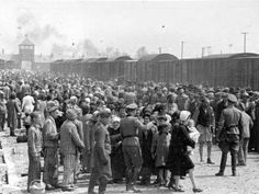 Hungarian Jews are selected by Nazis to be sent to the gas chamber at Auschwitz concentration camp, May/June 1944