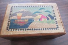 Vintage Japanese Wooden Puzzle Box Mount Fuji Scene & Floral