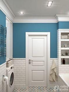 ideas bathroom small laundry mirror for 2019 Shiplap Bathroom, Narrow Bathroom, Upstairs Bathrooms, Blue Bathrooms, Bathroom Interior Design, Interior Design Living Room, Paint Colors For Living Room, Shower Remodel, Bathroom Colors