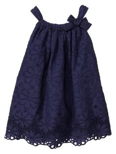 Baby Gap Color <3 Rainforest Eyelet Bow Dress in Fall Navy. Want to make dresses like this for my nieces.