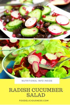 Looking for some Keto recipes, Radish cucumber salad, Vegetarian Dish ? I've got a collection here of the best Radish Cucumber Salad - Healthy Appetizers, Healthy Salad Recipes, Detox Recipes, Vegetarian Recipes, Cooking Recipes, Vegetarian Dish, Whole30 Chicken Salad, Vegetable Side Dishes, Vegetable Salads