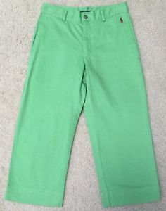 *RALPH LAUREN SPORT* Women's Green Cropped Capri Pants 4 Embroidered Red Pony