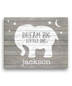 Look at this Gray Elephant 'Dream Big Little One' Personalized Canvas on #zulily today!