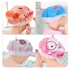 Lovely Shower Cap Waterproof Lace Elastic Band Hat Bath Spa Cap For Women And Kids Products.