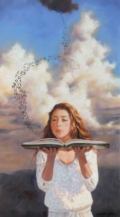 Leslie Balleweg > Woman in white, blowing letters off page of book Reading Art, Woman Reading, Foto Pop Art, Prophetic Art, World Of Books, Arte Pop, Book Images, Cute Cartoon Wallpapers, Surreal Art