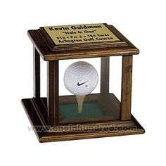 Hole In One - Glass and wood display case for golf ball.