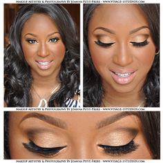 Another Beautiful Client! This is my champagne eye shadow with a chocolate brown contour in the crease, nude gloss, contour cheeks/nose and radiant bronzed skin most requested makeup look! Have this flawless makeup look by Booking your wedding or special event/occasion makeup session with me, Joanna Petit-Frere, Boston Makeup Artist and nationwide makeup artist! Please visit www.Visage-1studios.com for more makeup and photography work!