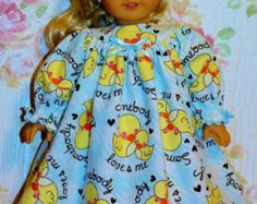 SOMEBODY LOVES ME Chicks Flannel Nightgown fist 18inch American Girl Dolls - Made in America
