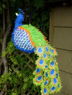 These are pinatas from etsy.com!!!  Is that not so dang cute???  Especially for my neighborhood.  Peacocks everywhere!!!