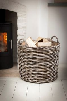 Large Round Wicker Log Basket by Fireside by Garden Trading