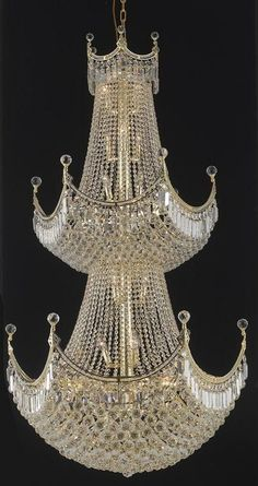 Corona - Thirty-Six Light Chandelier Clear Royal Cut Gold Finish Bottle Chandelier, Glass Chandelier, Chandelier Lighting, Elegant Chandeliers, Crystal Chandeliers, Light Of The World, Clear Crystal, Crystal Crown, Blue Christmas