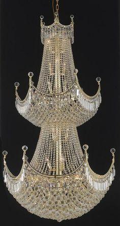 Corona - Thirty-Six Light Chandelier Clear Royal Cut Gold Finish Bottle Chandelier, Lantern Chandelier, Chandelier Lighting, Elegant Chandeliers, Crystal Chandeliers, Light Of The World, Clear Crystal, Crystal Crown, Blue Christmas