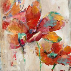 Found it at Wayfair - Flower and Nature Painting Print on Canvas: Oil Pastel Paintings, Nature Paintings, Painting Prints, Watercolor Paintings, Canvas Art Projects, Abstract Painting Techniques, Abstract Flowers, Flower Art, Free Shipping