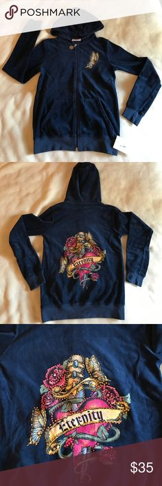 Authentic Ankh Royalty Navy Hoodie Authentic Ankh Royalty brand full zip hoodie in navy velour. Rhinestone embellishment on both front and back. Front pockets. Great for cool summer nights. Great product - great price. Ankh Royalty Jackets & Coats