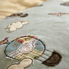 Close up of embroidery detail. www.thehandkerchieftree.co.uk