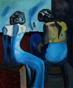 """art-yearly: """" Pablo Picasso: Prostitutes at a Bar, 1902 """" Art Picasso, Picasso Paintings, Picasso Blue Period, Cubist Movement, Kunst Online, Georges Braque, Post Impressionism, Cultural, Art Moderne"""