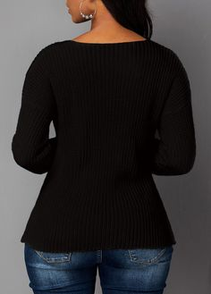 Cutout Front Asymmetric Hem Black Sweater | Rosewe.com - USD $31.16 Cute Sweaters, Black Sweaters, Sweaters For Women, Wholesale Clothing, Shoes Wholesale, Plus Size Girls, Spring Street Style, Long Sleeve Sweater, Cheap Clothes