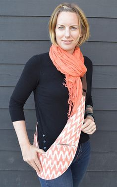 Peach Ikat Cloth   Brown Genuine Leather Sash Bag News Design 636a9dc11b46
