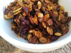 Granola   PaleOMG -  Add 2 tsp vanilla  Half honey, maple syrup   1/4 to 1/3 C coconut oil