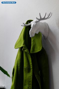 Our original and unique Moose Hook is wonderfully multi-functional and stylish at the same time. Made of solid cast iron, this chic piece can hold coats and keys on its horn hooks as well as store the smaller things like tie stays and clips on its flat top of its base. Great for entryway and mudroom organization. White Moose, Entryway Organization, Wall Hooks, Mudroom, Horn, Cast Iron, Keys, Coats, Base